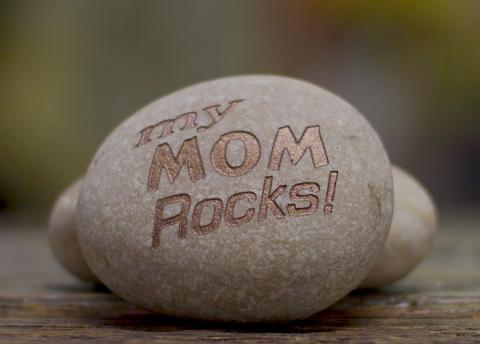 "Plain Rock, Etched and Copper Paint Filled with ""My Mom Rocks"""