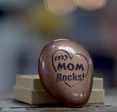 """Copper Painted Rock, Etched with """"My Mom Rocks"""""""