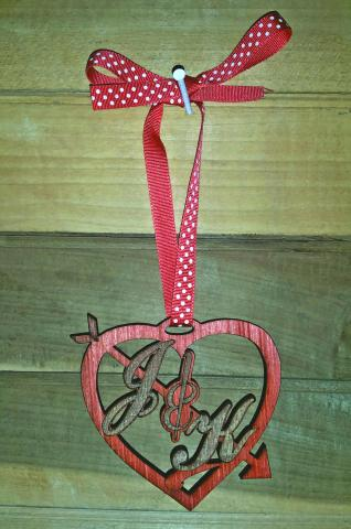 Monogrammed Wooden Heart Ornament