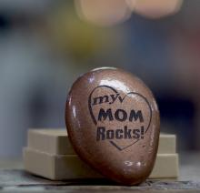 "Copper Painted Rock, Etched with ""My Mom Rocks"""
