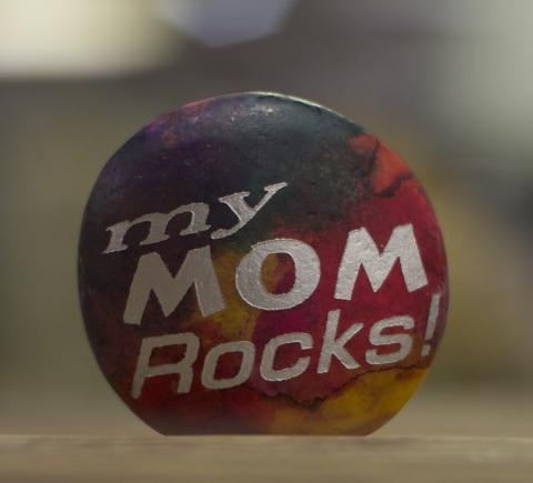 """Colorful Rock, Etched and Painted with """"My Mom Rocks"""""""
