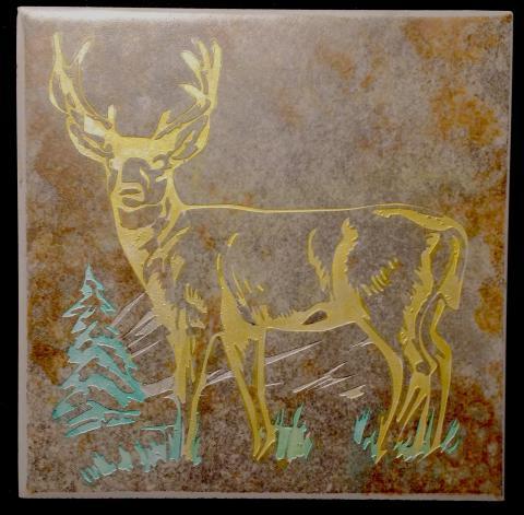 Ceramic Trivette - Deer, Colored