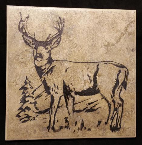 Ceramic Trivette - Deer, Black Color Filled