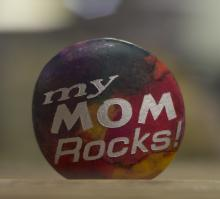 "Colorful Rock, Etched and Painted with ""My Mom Rocks"""